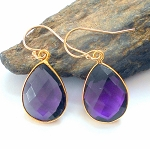 Amethyst Gold Teardrop Earrings