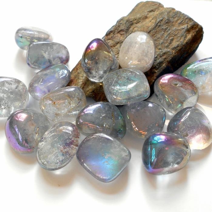 Rainbow Quartz Stone : Rainbow aura quartz polished gemstone