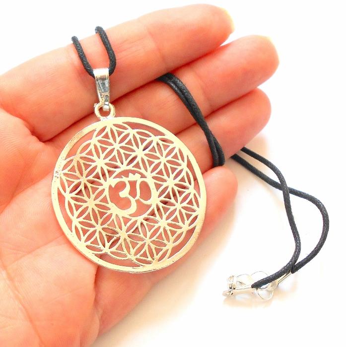 Flower Of Life Om Symbol Necklace