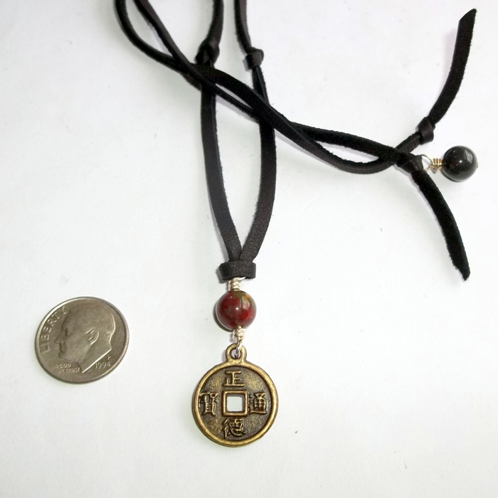 Unisex chinese coin necklace bloodstone black leather adjustable unisex chinese coin necklace bloodstone black leather adjustable earthegy mozeypictures Choice Image