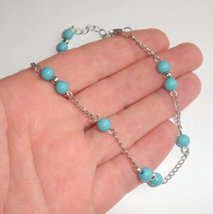 turquoise beaded ankle bracelet