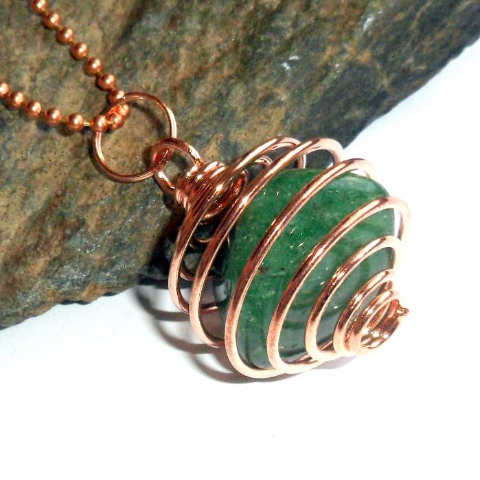 Copper Tumble Stone Wire Pendant Cage