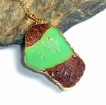 Natural Chrysoprase Gold Necklace