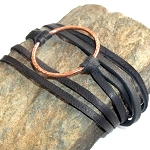 Copper Disc Leather Wrap Bracelet