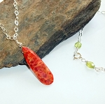 Orange Coral Sterling Necklace