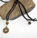 Unisex Bloodstone Chinese Coin Necklace