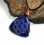 Lapis Carved Flower Necklace