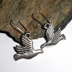 Tibetan Silver Dove Charm Earrings