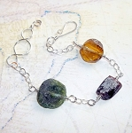 Roman Glass Three Stone Bracelet
