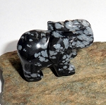 Snowflake Obsidian Elephant Spirit Animal Carving