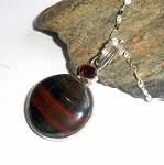 Tiger Iron and Garnet Necklace 2