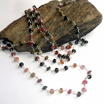 Watermelon Tourmaline Sterling Silver  Long Necklace