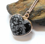 Snowflake Obsidian Sterling Silver Heart Necklace