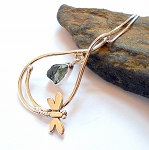 Moldavite Sterling Silver Dragonfly Necklace