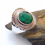 Ruby and Emerald Sterling Silver Ring Size 10