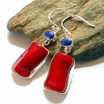 Lapis and Red Coral Sterling Silver Earrings