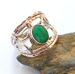 Raw Emerald Sterling Silver Ring Size 10