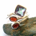 Rainbow Topaz and Garnet Ring Size 9