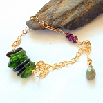 Chrome Diopside and Garnet Gold Bracelet