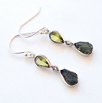 Moldavite and Peridot Sterling Silver Earrings
