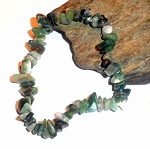 Moss Agate Chip Stretch Bracelet
