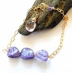 Charoite and Amethyst Gold  Bracelet