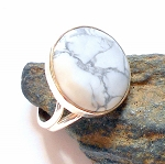 Howlite Sterling Silver Ring Size 7.5