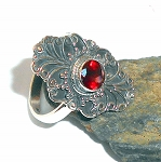 Garnet Sterling Silver Ring  Size 8.5
