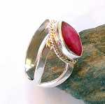 Ruby Sterling Silver Ring Size 10.5