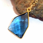 Blue Apatite Gold Necklace