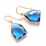 Blue Apatite Gold Earrings