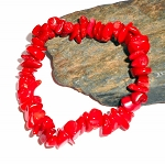 Red Coral Chip Stretch Bracelet