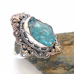 Raw Blue Apatite Sterling Silver Ring Size 9.5