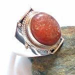 Sunstone Sterling Silver Ring Size 8.5