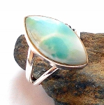 Larimar Sterling Silver Ring Size 6.5
