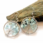 Aquamarine Tree of Life Earrings