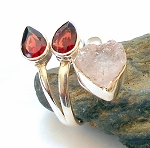 Rose Quartz and Garnet Sterling Silver Ring Size 7