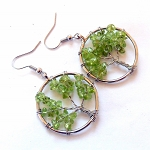 Peridot Tree of Life Earrings