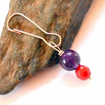 Amethyst and Carnelian Gemstone Pet Charm