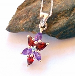 Amethyst and Garnet Star Necklace