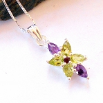Amethyst and Peridot Star Necklace