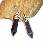 Blue Goldstone Wand Earrings