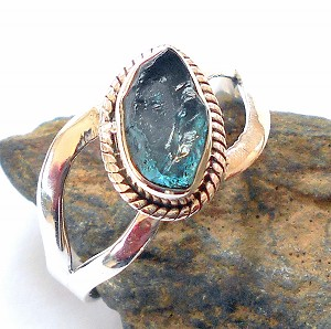 Blue Apatite Sterling Silver Ring Size 7.5