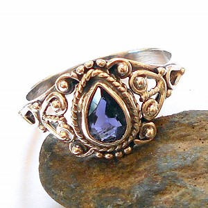 Blue Iolite Sterling Silver Ring Size 8.5