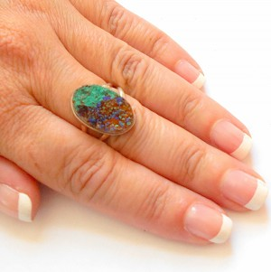 Azurite and Malachite Sterling Silver Ring Size 8