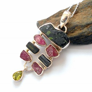 Raw Emerald Tourmaline and Peridot Necklace