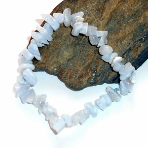 Blue Lace Agate Chip Stretch Bracelet