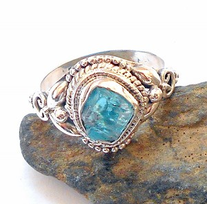 Raw Blue Apatite Sterling Silver Ring Size 8.5