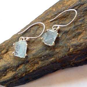 Raw Aquamarine Sterling Silver Earrings