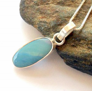 Australian Fire Opal Sterling Silver Necklace
